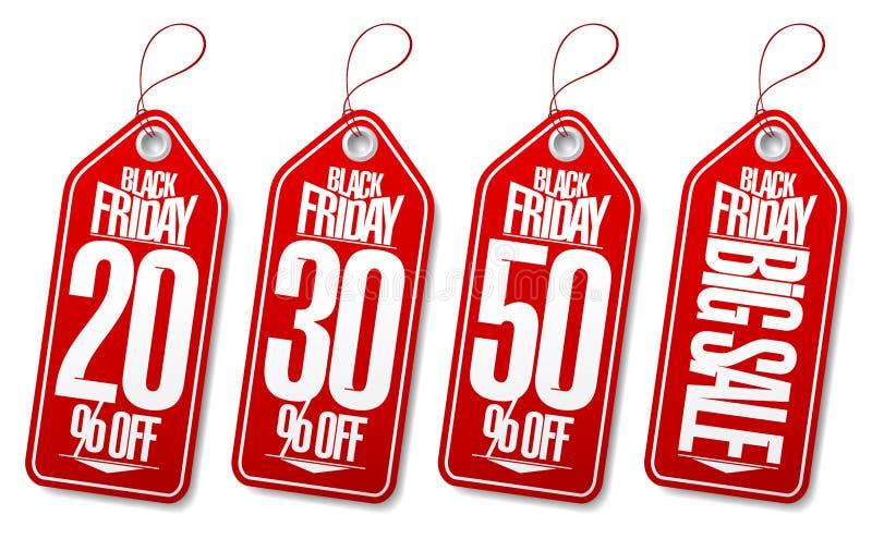 Czarne Piątek sprzedaży etykietki - 20% daleko, 30% daleko, 50% daleko, duża sprzedaż ilustracji