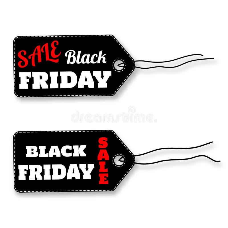 Czarne Piątek sprzedaży etykietki na białym tło wektorze ilustracji