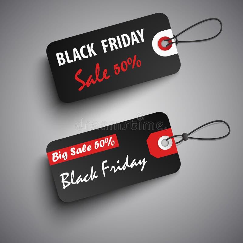 Czarne Piątek sprzedaży etykietki w czerwonym czarnym projekcie ilustracja wektor