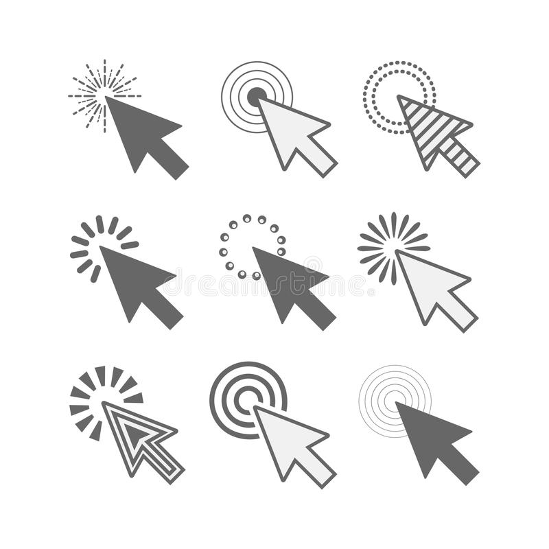 Czarne różne stylowe aktywne stuknięcie kursorów ikony ustawiać na białym tle royalty ilustracja