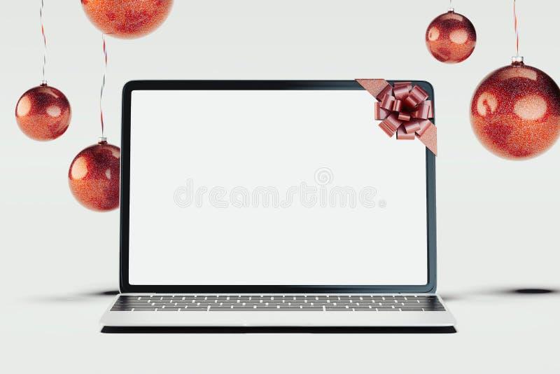 Czarne realistyczne boże narodzenie piłki na lekkim tle i laptop świadczenia 3 d royalty ilustracja