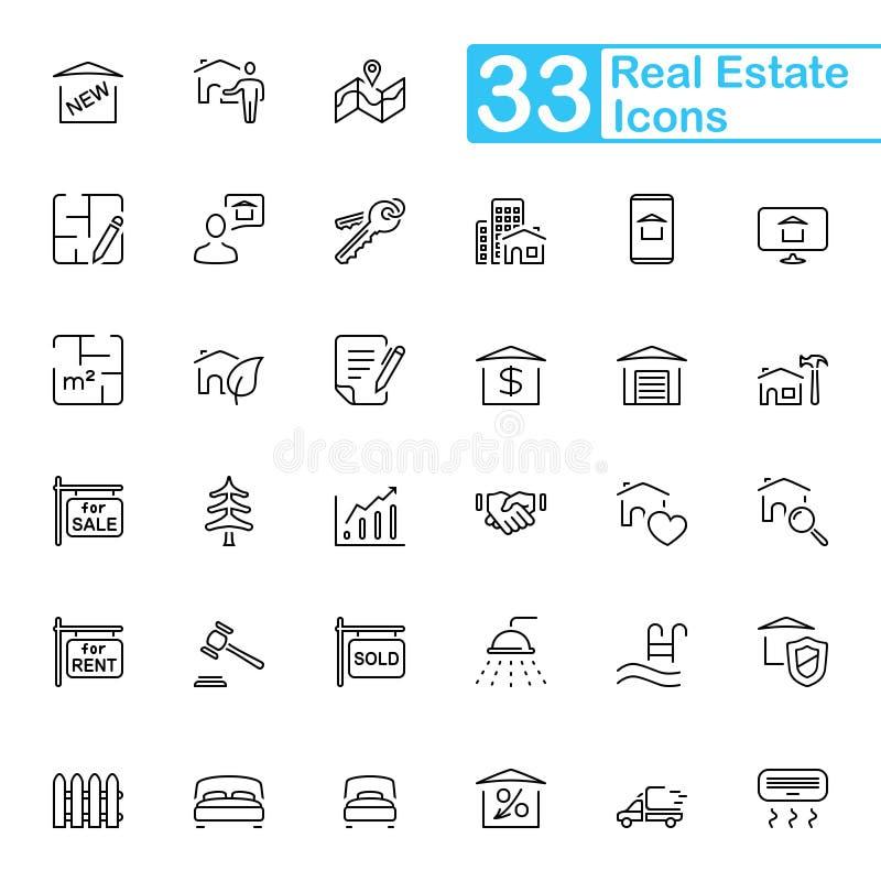 Czarne Realty linii ikony zdjęcia stock
