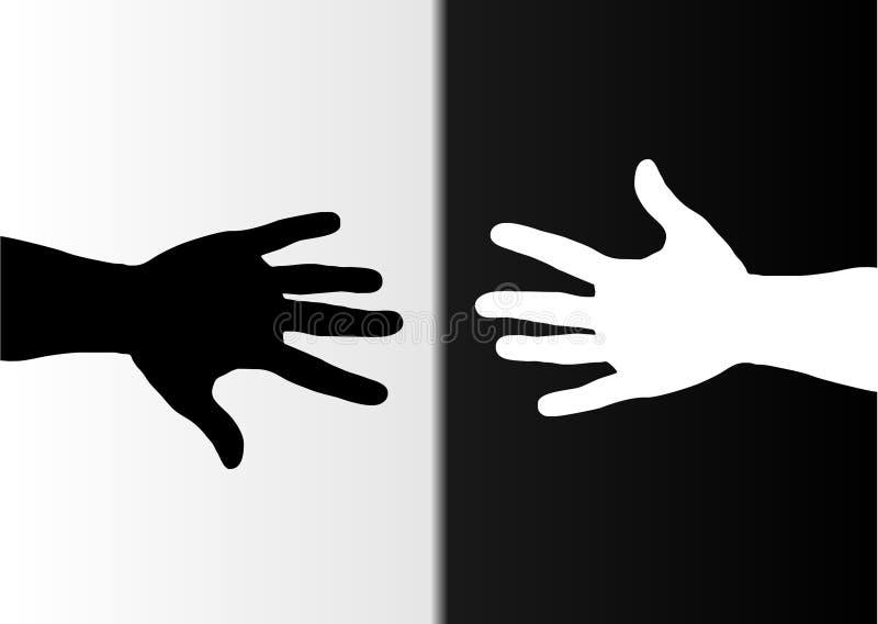 czarne rece białe royalty ilustracja