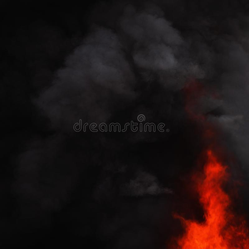 Czarne ruch chmury silny czerwonego ogienia dym zakrywali niebo zdjęcie royalty free