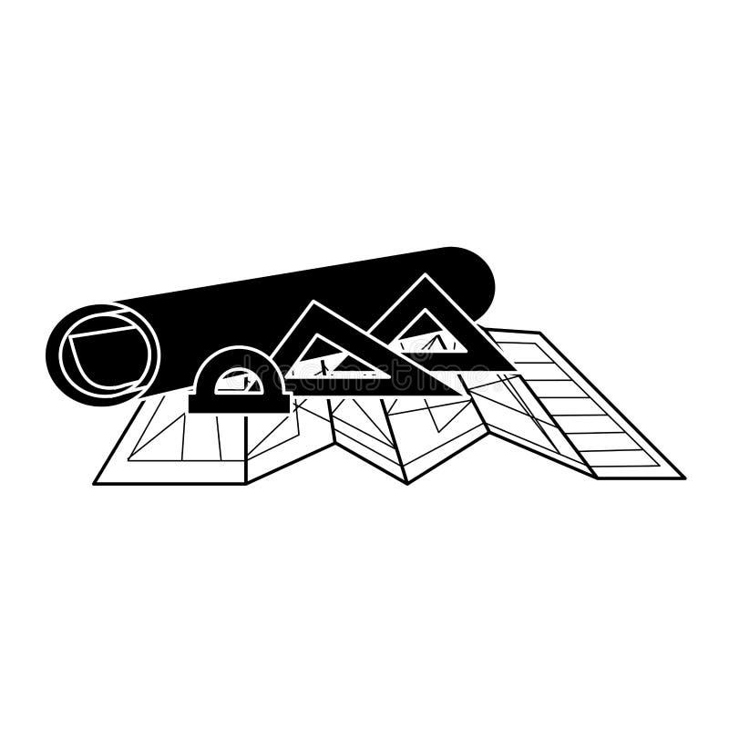 Czarne sylwetki architektury reguły dla rysować i plany royalty ilustracja