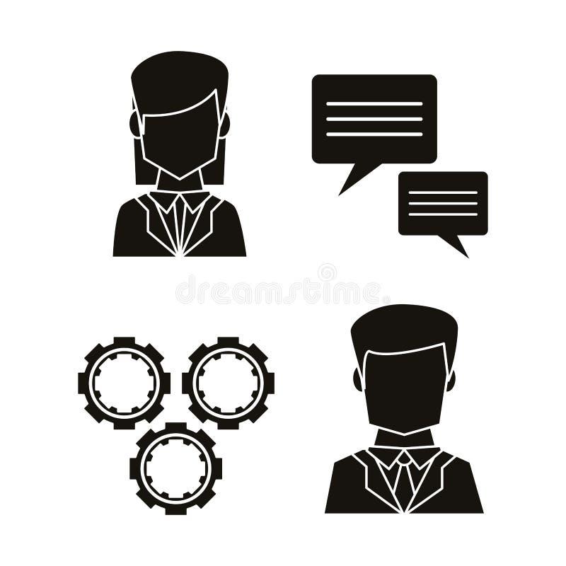 Czarne sylwetki ikony ustalona komunikacyjna praca zespołowa royalty ilustracja