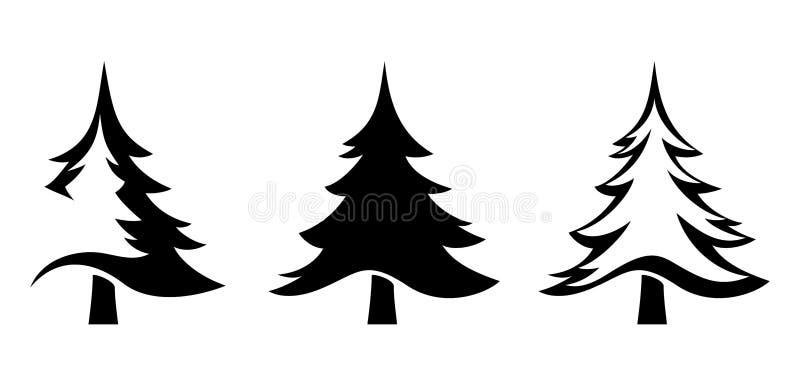 Czarne sylwetki jedlinowi drzewa również zwrócić corel ilustracji wektora ilustracja wektor