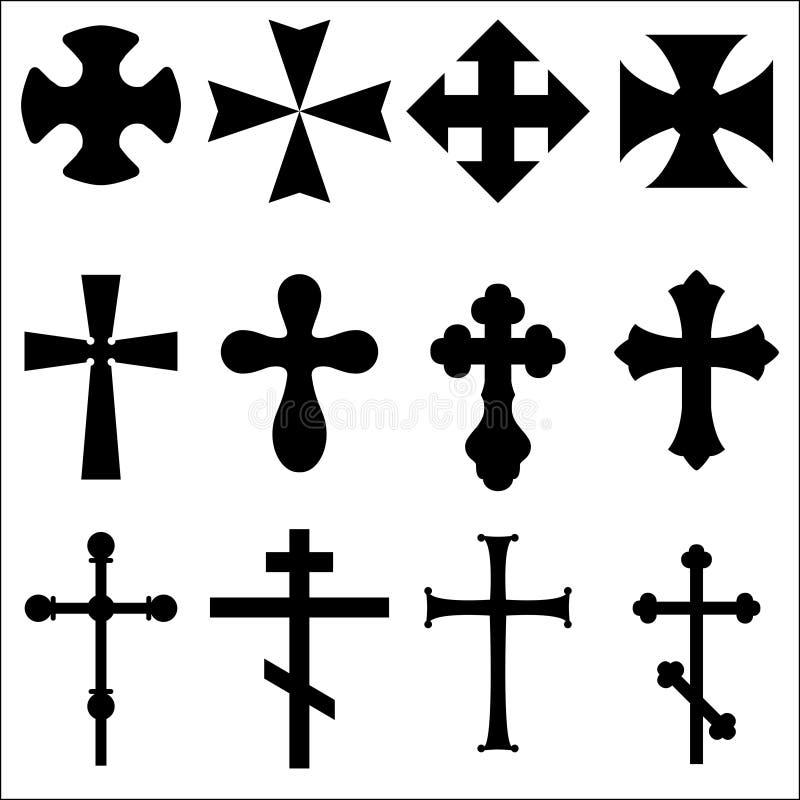 Czarne sylwetki krzyże: Katolik, chrześcijanin, celt, poganin royalty ilustracja