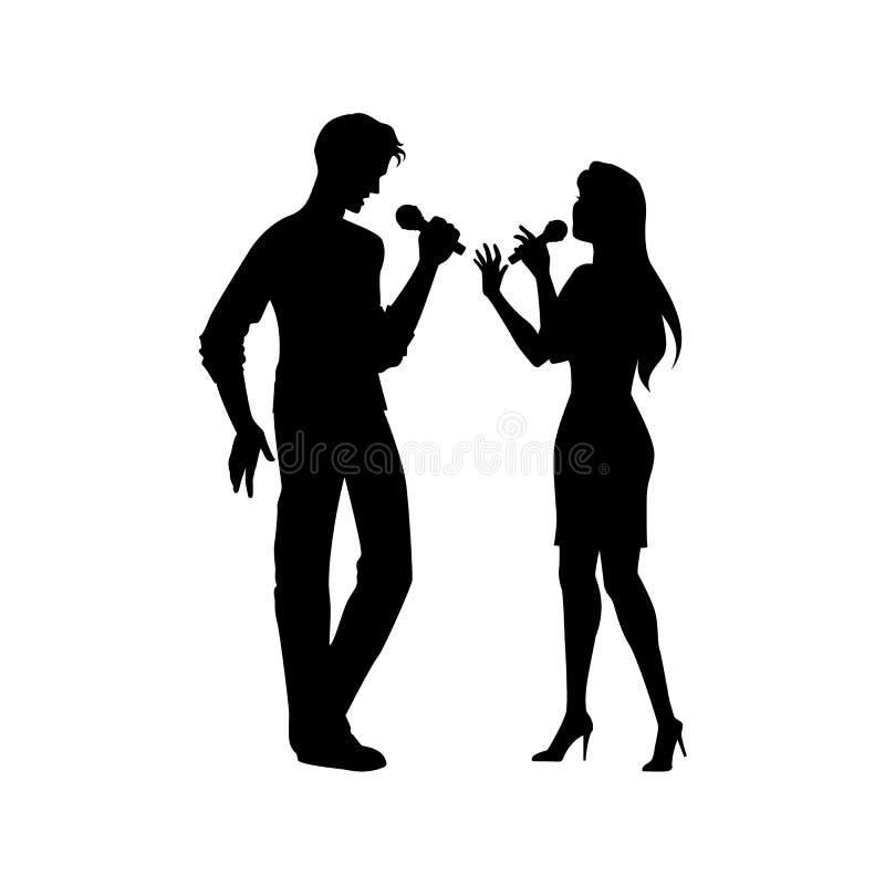 Czarne sylwetki mężczyzna, kobieta śpiewa wpólnie ilustracji