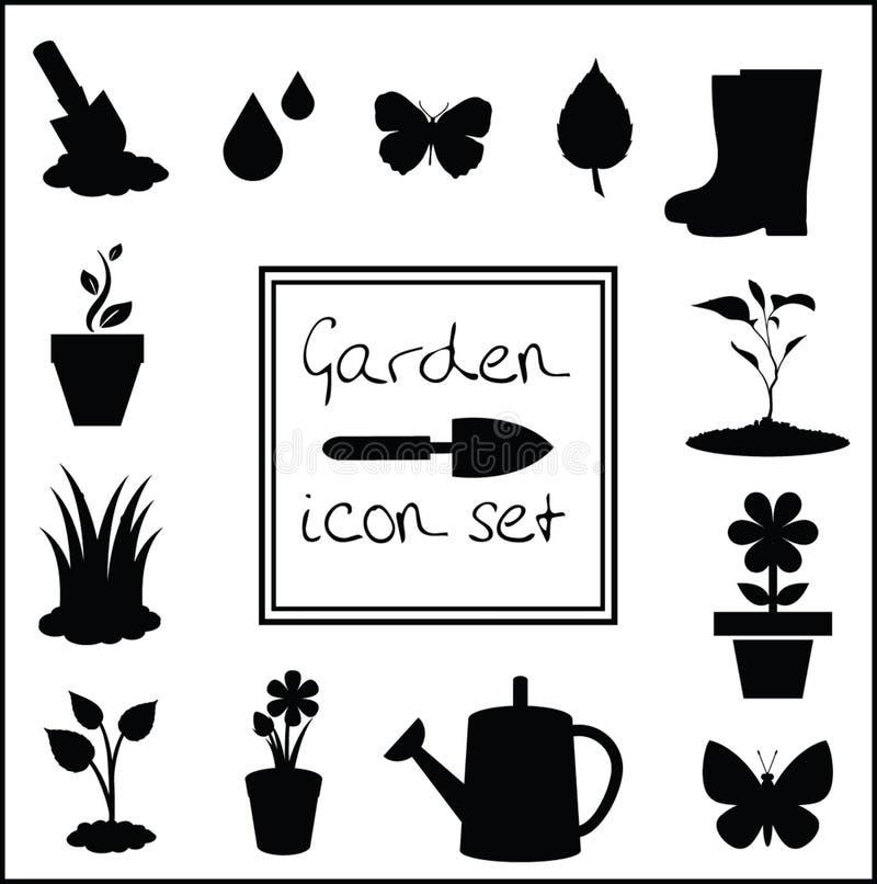 Czarne sylwetki ogrodnictwo ikony ustawiają odosobnionego na białym tle ilustracja wektor