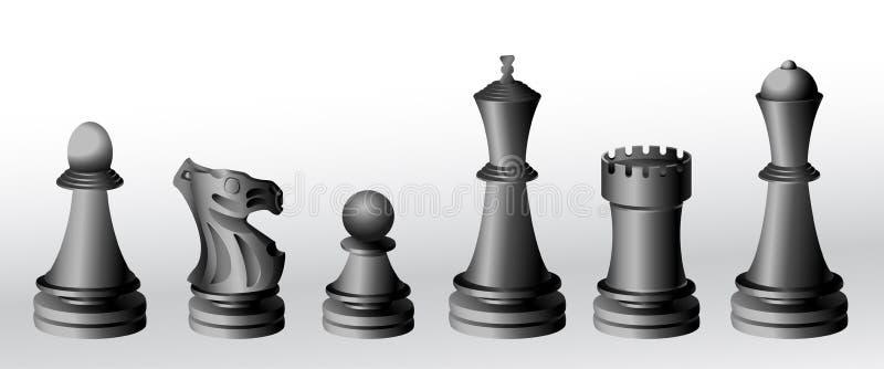 czarne szachowi kawałki royalty ilustracja