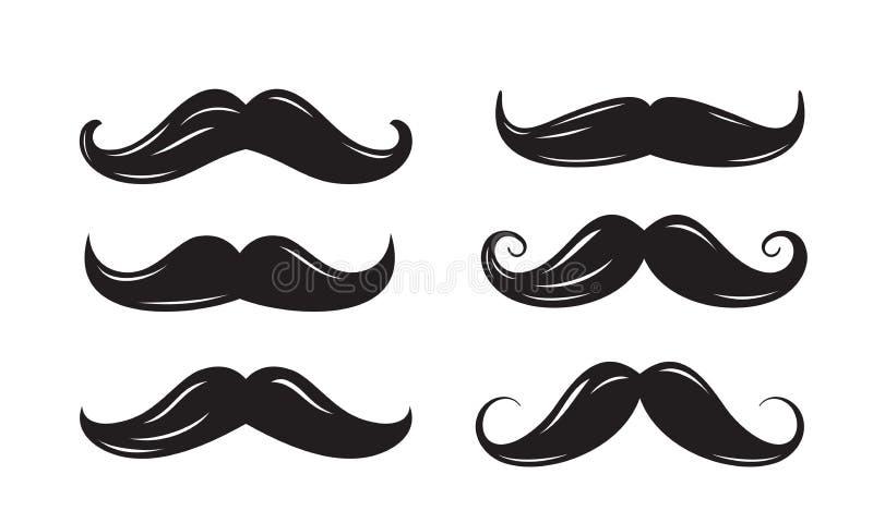 Czarne wąsy ikony ilustracji