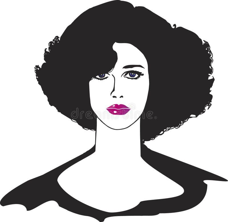 czarne włosy, ilustracji
