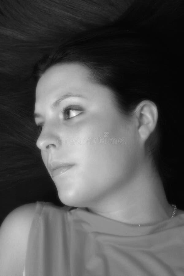 Czarne Włosy Portret White Obrazy Royalty Free