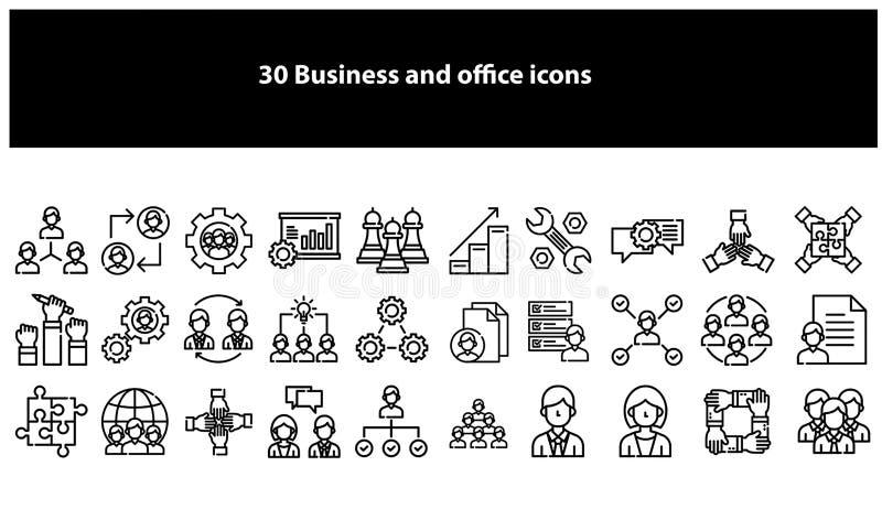 Czarne wektorowe biznesowe i biurowe ikony ilustracja wektor