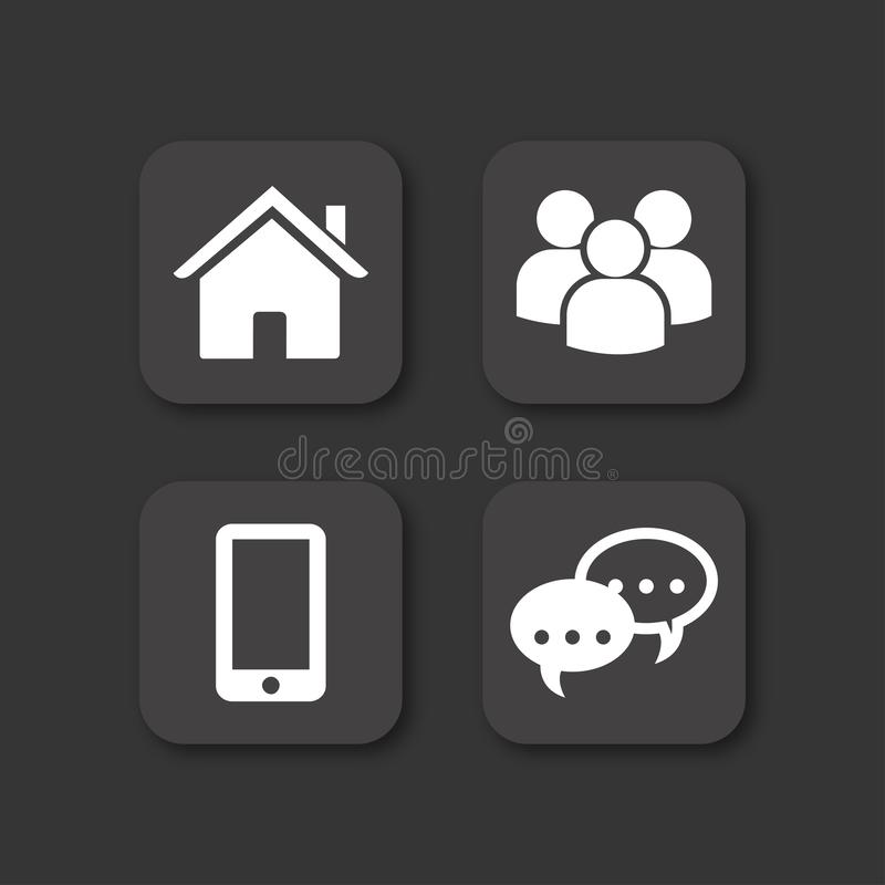Czarne wektorowe ikony ustawiać dom, wiadomość, ludzie i wisząca ozdoba, royalty ilustracja