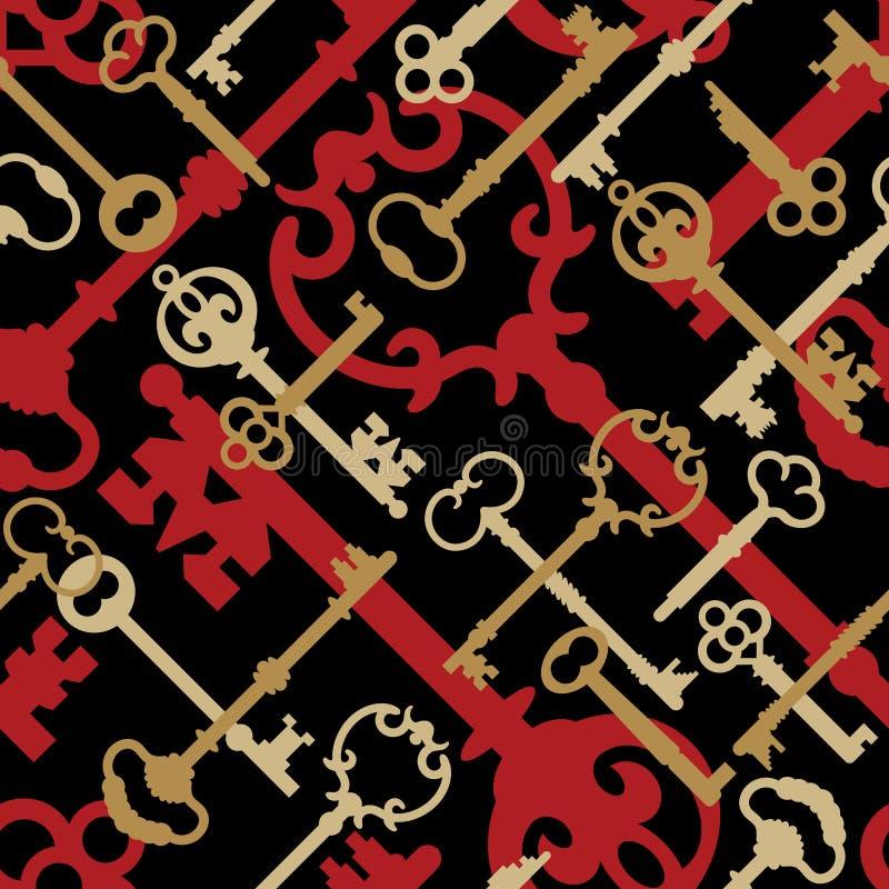 czarne złoto kluczową wzorca czerwieni. ilustracja wektor