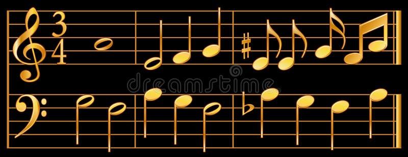czarne złoto muzyki tła nuty ilustracja wektor