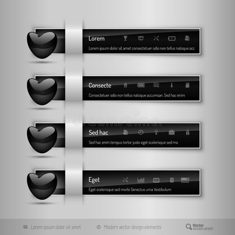 Czarne zakładki z glansowanym sercem Nowożytni wektorowi projektów elementy ilustracja wektor