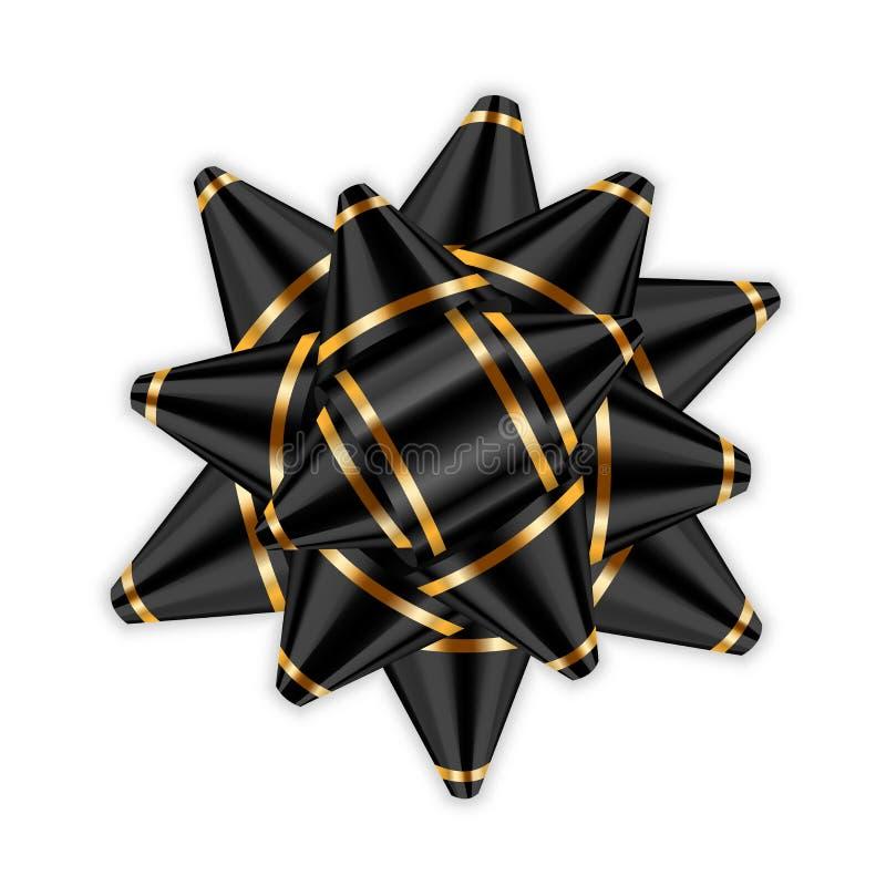 Czarnego łęku wystroju 3D elementu tasiemkowy pakunek Błyszcząca złocista atłasowa dekoracja prezenta teraźniejszość, wakacyjny p ilustracja wektor