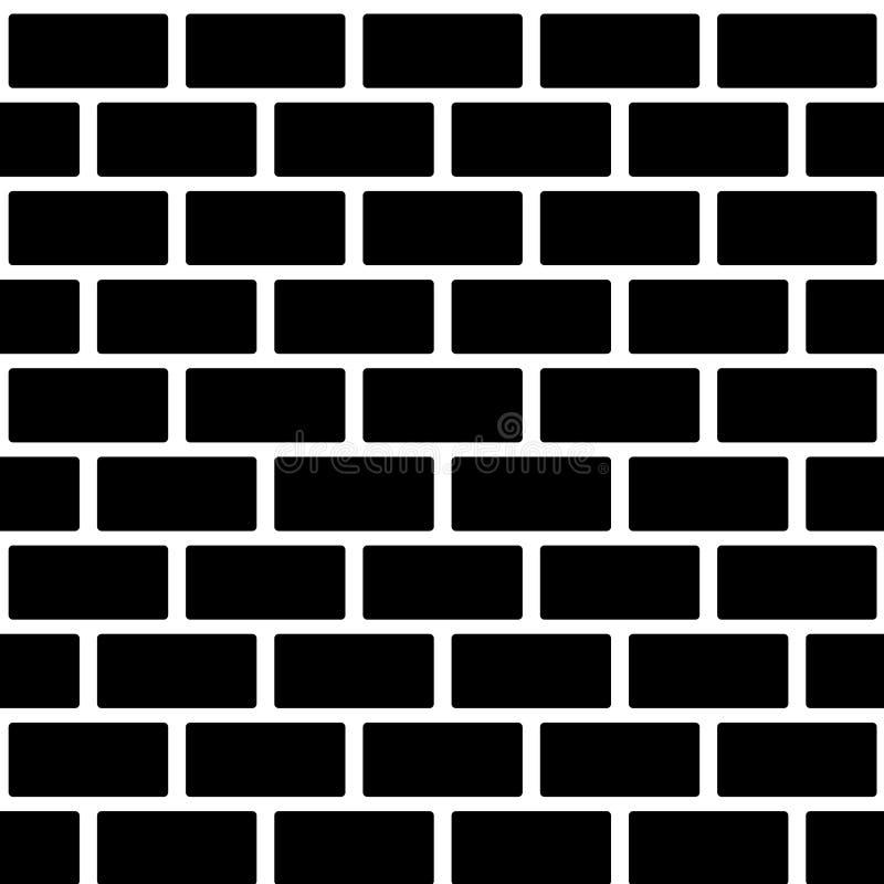 Czarnego ściana z cegieł bezszwowy wzór Prosty budynek ilustracja wektor