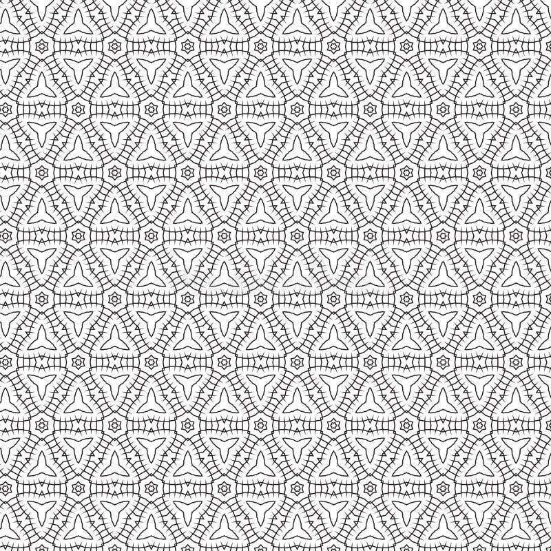 Czarnego Abstrakcjonistycznego remisu kwiatu gwiazd siatki wzoru tła wektoru Geometryczna ilustracja ilustracja wektor