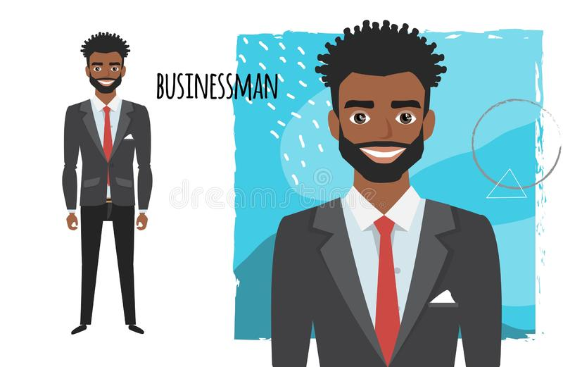 Czarnego Afrykanina amerykański biznesmen z brodą w formalnym kostiumu Pełny długość portret kreskówka biznesmen Charakter dla ilustracja wektor