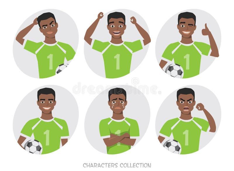 czarnego afrykanina amerykańskiego gracza piłki nożnej różne postury, emocje ustawiać royalty ilustracja