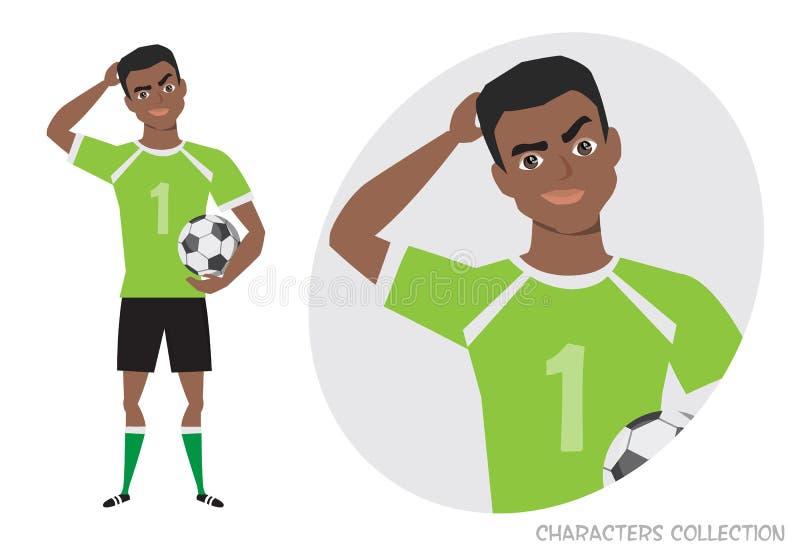 Czarnego Afrykanina futbolu amerykańskiego gracz jest zadumany, główkowanie Portret przystojny młody rozważny gracz piłki nożnej ilustracji