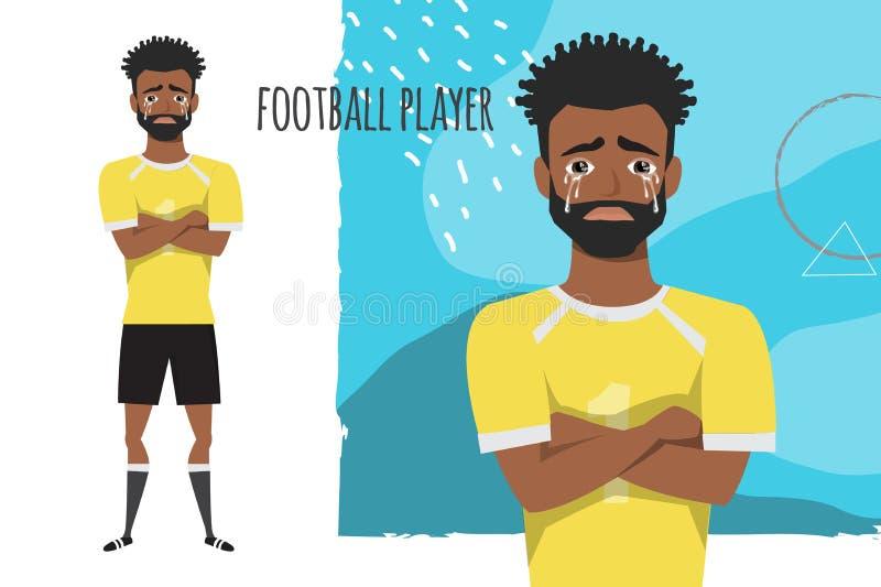 Czarnego Afrykanina futbolu amerykańskiego gracz krzyżował jego płacze i ręki Obsługuje łzy i depresję Emocja royalty ilustracja