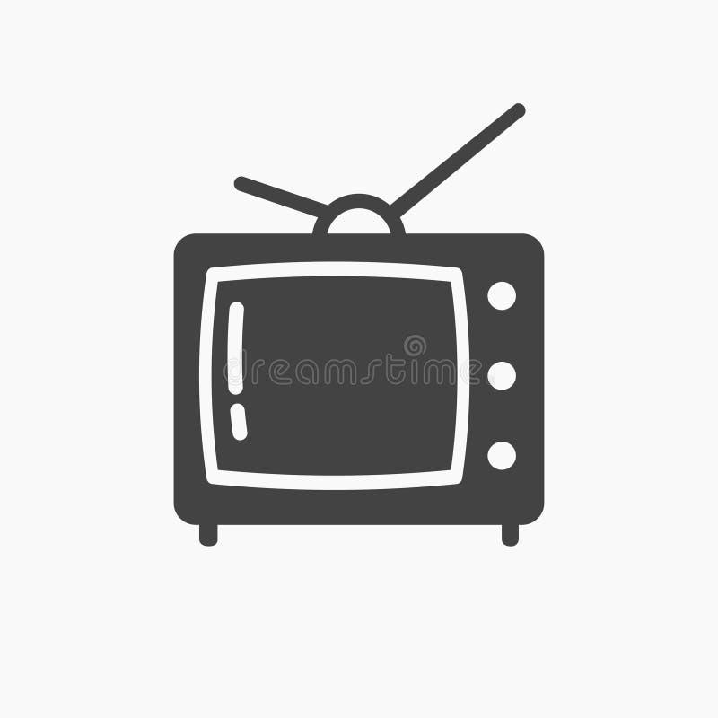 Czarnego białego starego rocznika tv telewizyjna ikona royalty ilustracja