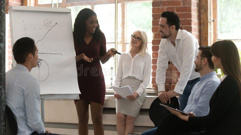 Czarnego biznesowej kobiety trenera szkolenia trzepnięcia mapy drużynowa daje prezentacja obraz stock