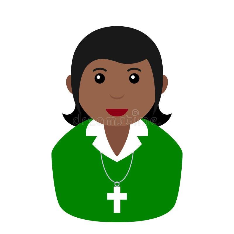 Czarnego Chrześcijańskiego dziewczyny Avatar Płaska ikona na bielu ilustracji