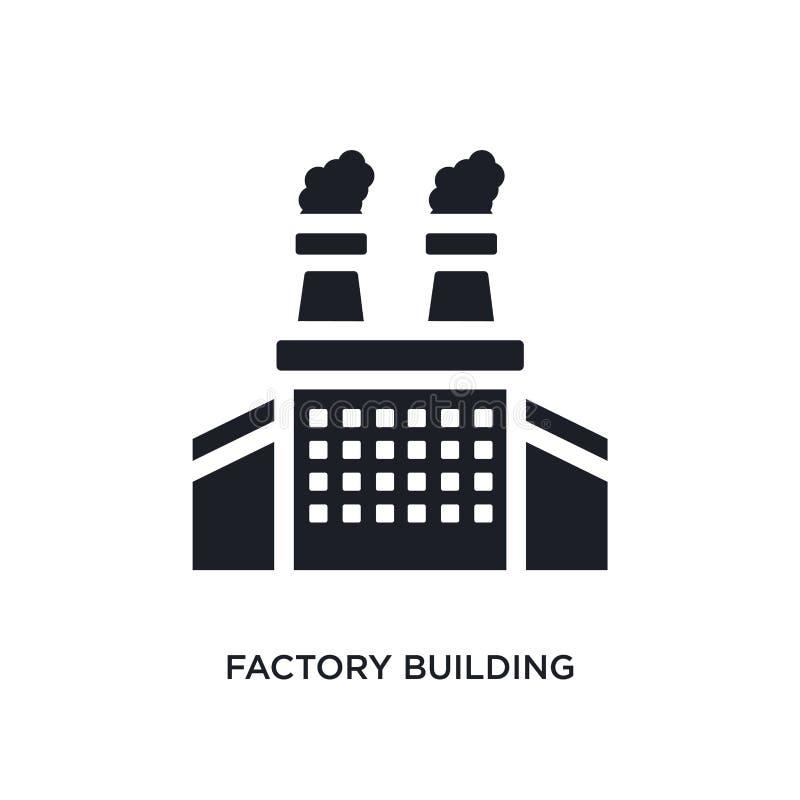czarnego fabrycznego budynku odosobniona wektorowa ikona prosta element ilustracja od przemysłu pojęcia wektoru ikon Fabryczny bu royalty ilustracja