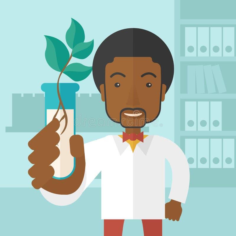 Czarnego faceta chemik z tubki i eco liśćmi royalty ilustracja