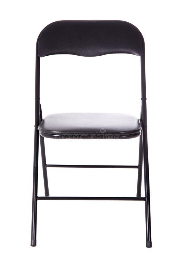 Czarnego falcowania biurowy krzesło odizolowywający na bielu fotografia stock