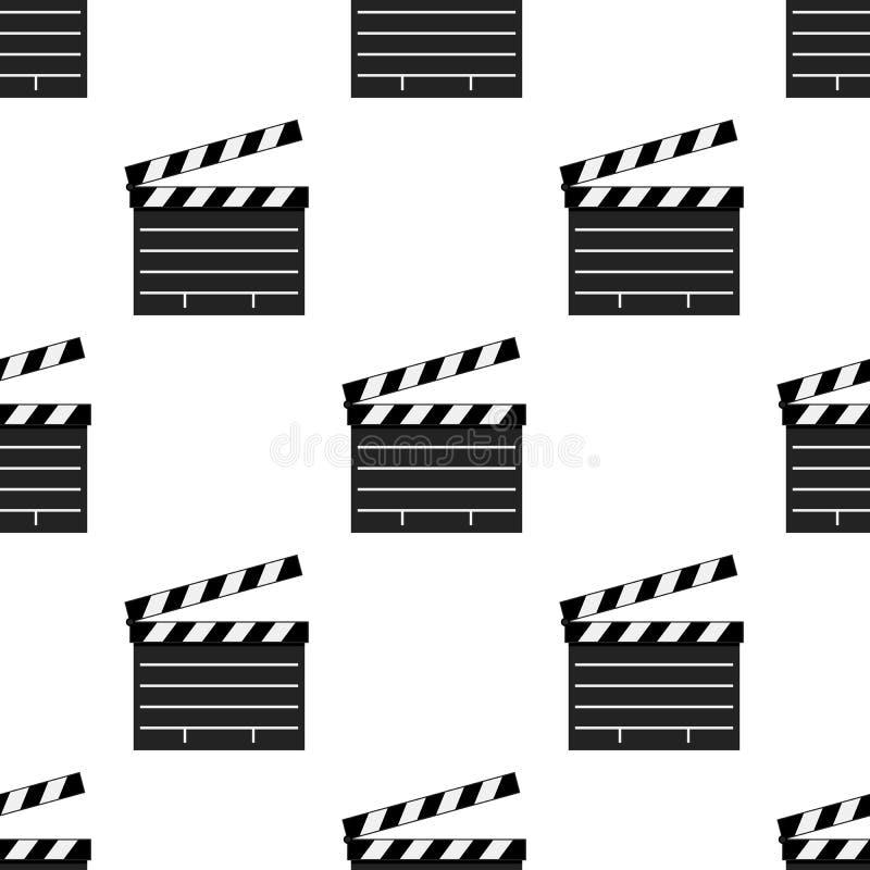 Czarnego filmu Clapboard Bezszwowy wzór ilustracji