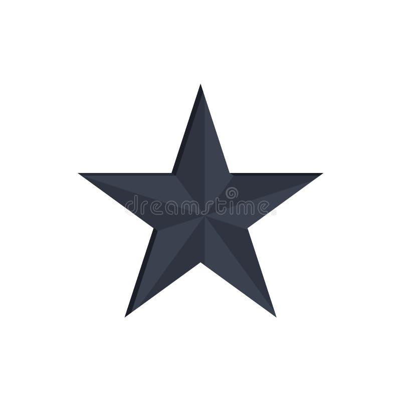 Czarnego gwiazdy 3D projekta Wektorowa ilustracja Odizolowywająca royalty ilustracja