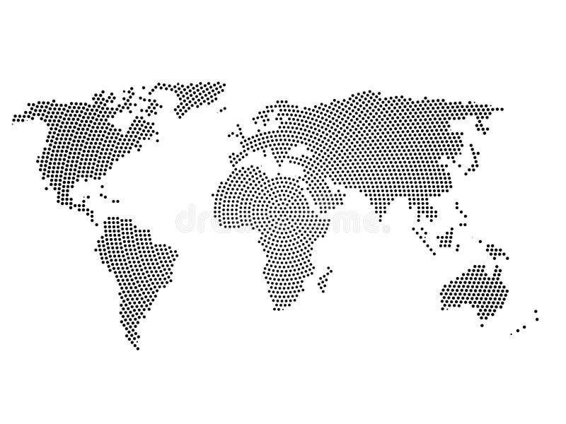 Czarnego halftone światowa mapa małe kropki w promieniowym przygotowania Prosta płaska wektorowa ilustracja na białym tle royalty ilustracja