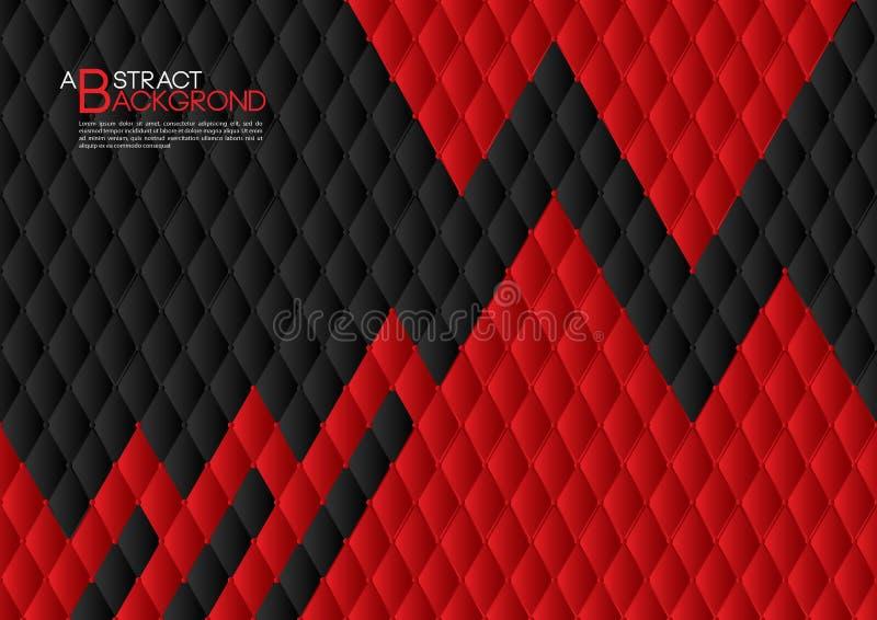 Czarnego i czerwonego abstrakcjonistycznego tła wektorowa ilustracja, okładkowego szablonu układ, biznesowa ulotka, Rzemienny tek ilustracji