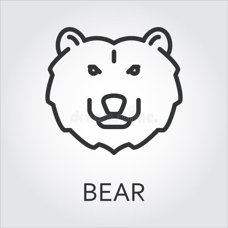 Czarnego ikona stylu kreskowa sztuka, kierowniczego dzikiego zwierzęcia brown niedźwiedź royalty ilustracja