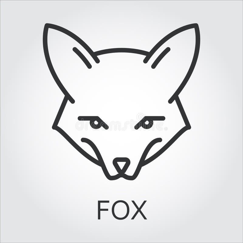 Czarnego ikona stylu kreskowa sztuka, kierowniczy dzikie zwierzę lis, Fox ilustracja wektor