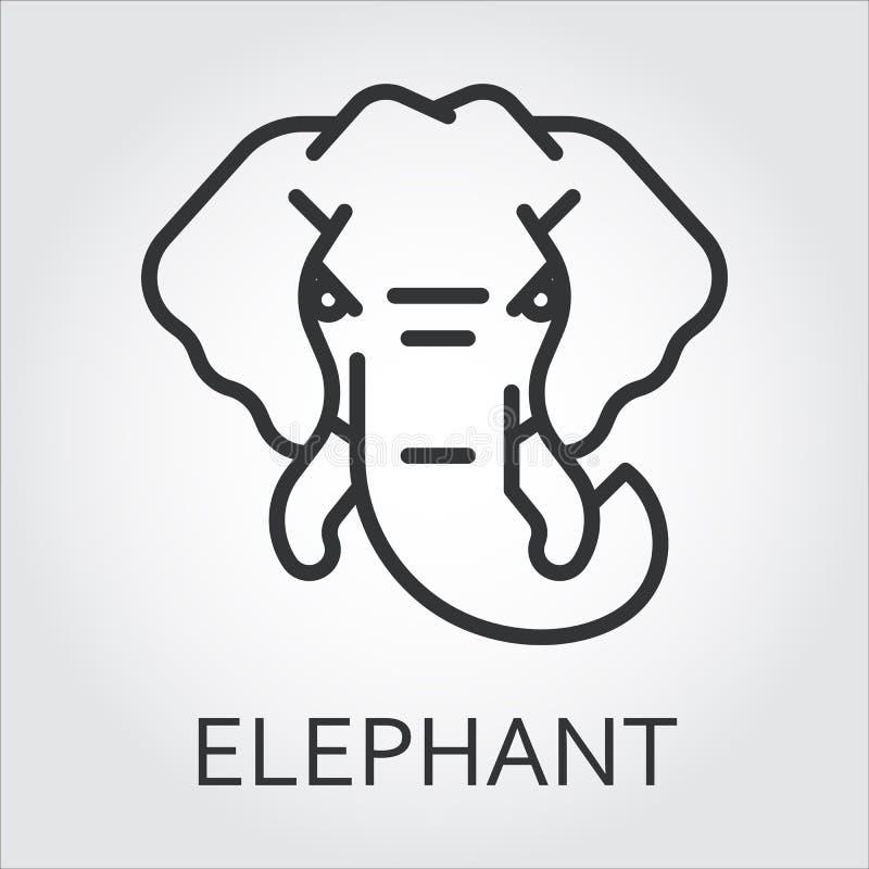 Czarnego ikona stylu kreskowa sztuka, kierowniczy dzikie zwierzę słoń ilustracji