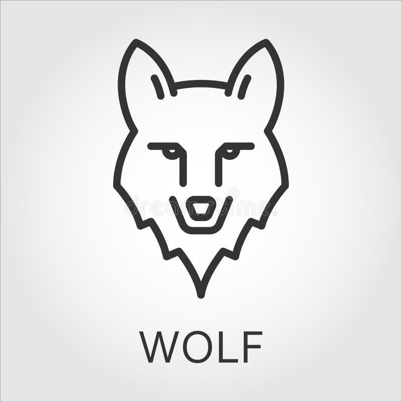 Czarnego ikona stylu kreskowa sztuka, kierowniczy dzikie zwierzę wilk ilustracja wektor