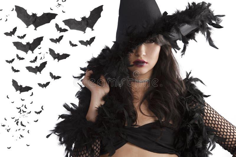 czarnego kapeluszu portreta target363_0_ czarownicy potomstwa obrazy stock