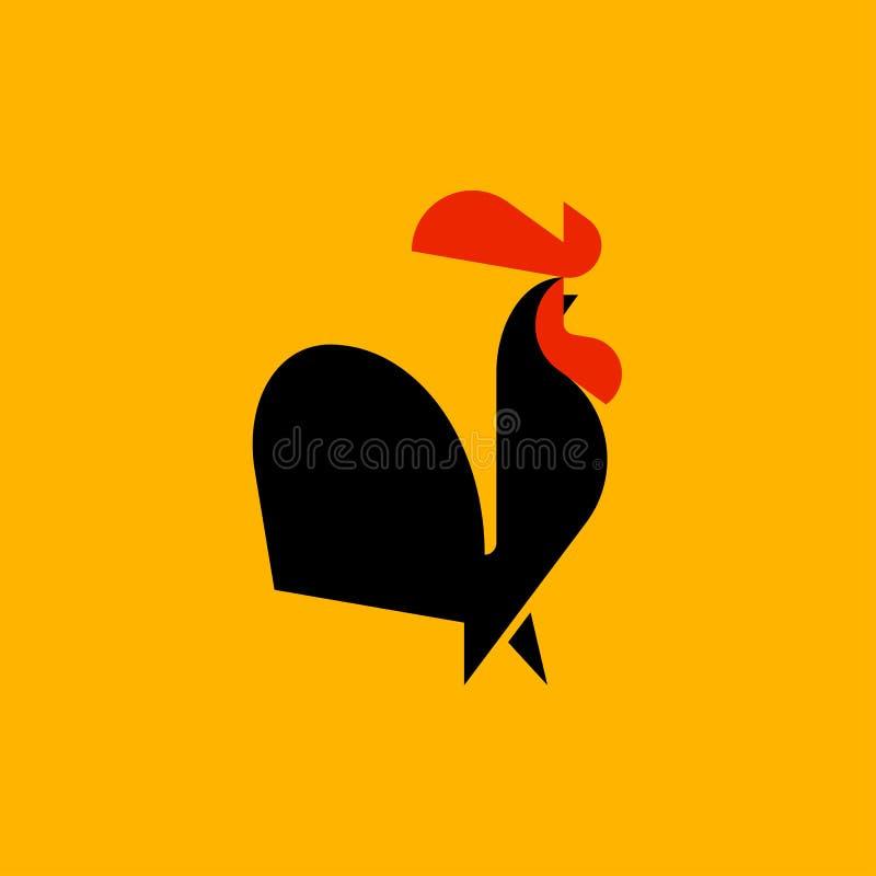 Czarnego koguta mieszkania stylu loga wektorowy szablon lub ikona ilustracja wektor