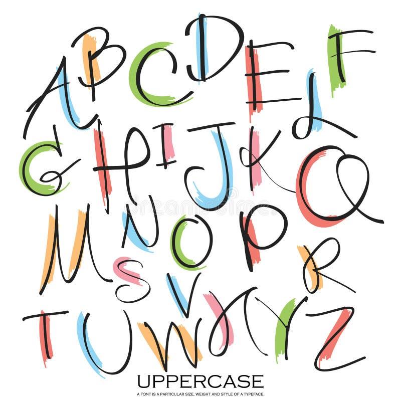 Czarnego kolorowego abecadła uppercase listy Ręka rysujący pisać dowcip ilustracji