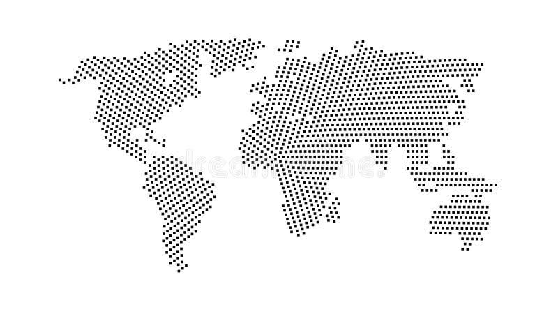 Czarnego koloru światowa mapa odizolowywająca na białym tle ilustracja wektor