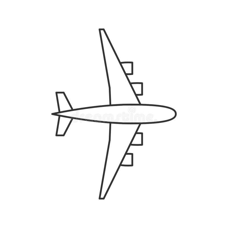 Czarnego konturu odosobniony samolot na białym tle Kreskowy widok od above samolot royalty ilustracja