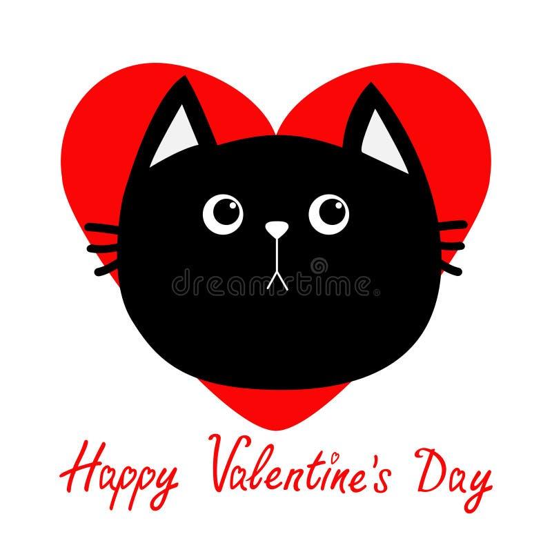 Czarnego kota głowy ikona Czerwony serce Śliczny śmieszny postać z kreskówki szczęśliwych valentines karciany dzień emocja smutna royalty ilustracja